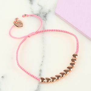 Rose Gold Hearts Friendship Bracelet