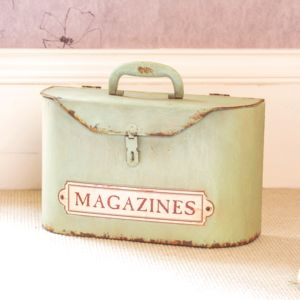 Personalised Lush Mint Green Time Worn Magazine Basket - magazine racks
