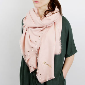 Personalised Cashmere And Pearl Shawl - scarves