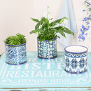 Set Of Three Toile Mosaic Ceramic Plant Pots