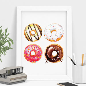 Doughnut Print Watercolour Illustration - winter sale