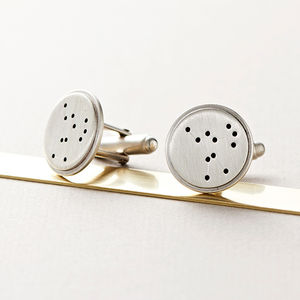 Silver Disc Constellation Cufflinks - wedding thank you gifts
