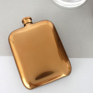 Personalised Copper Hip Flask With Leather Sleeve - men's accessories