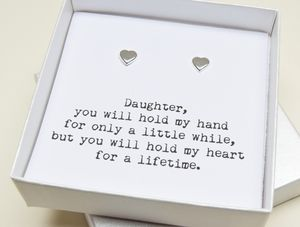 'Daughter' Silver Heart Earring Gift Box