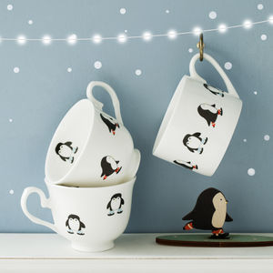 Personalised Skating Penguin Christmas Cup