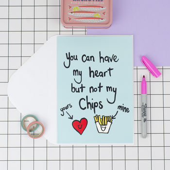 'Heart But Not Chips' Funny Valentines Card