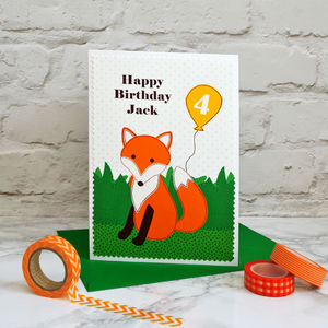 'Fox' Personalised Childrens Birthday Card - birthday cards