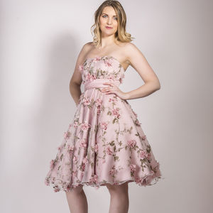 1950s Style 3D Flower Occasionwear Dress - bridesmaid dresses
