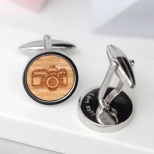 Personailsed Wooden Camera Cufflinks - men's accessories