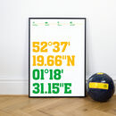 Norwich Posters, Football Stadium Coordinates