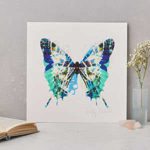 Blue Green Butterfly Fine Art Print