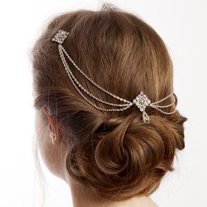 Silver Bridal Hair Chain Headpiece With Drapes - bridal hairpieces