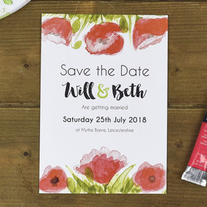 Poppies Floral Save The Date Cards - new in wedding styling