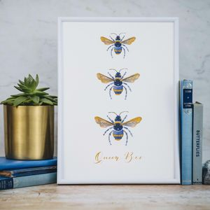 Personalised Three Gold Bees Watercolour Print - children's room