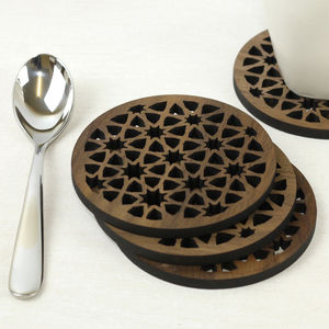 Moroccan Walnut Coaster Set - placemats & coasters