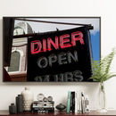 'Diner' Neon Sign Kitchen Wall Decor Print