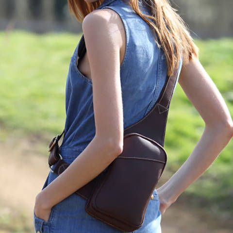 Leather Sling Backpack Bag
