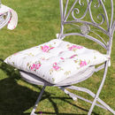 Vintage White Floral Square Seat Pad