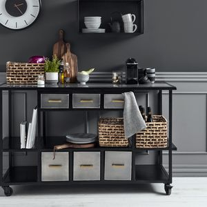 Black Metal Kitchen Storage Trolley Or Island