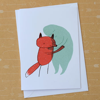 'Fox And Sadness' Screenprinted Card