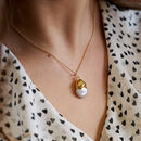 Organic Gold Dipped Pearl Necklace