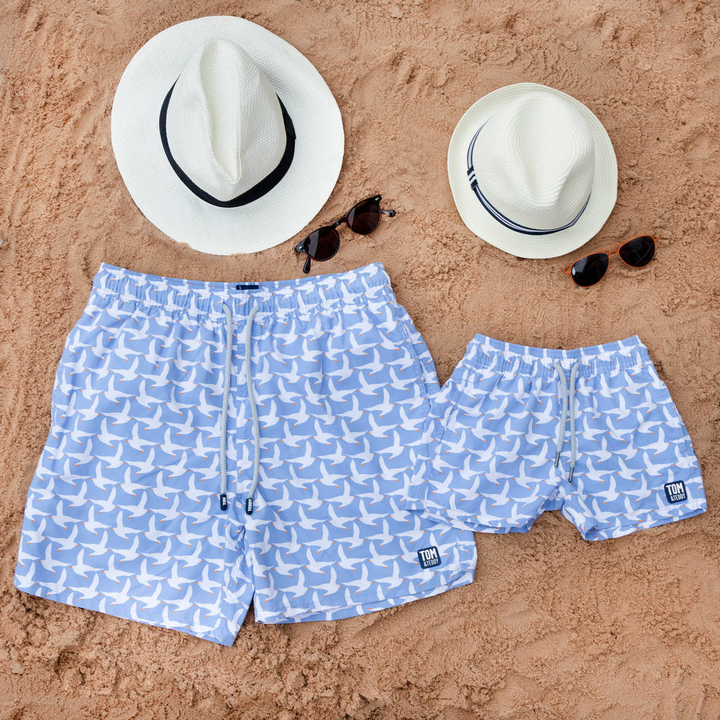 f9ac0ac2de father and son matching ice blue seagulls swim shorts by tom and ...