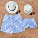 Father And Son Matching Ice Blue Seagulls Swim Shorts
