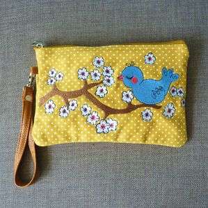 Blue Bird Cosmetic Pouch / Clutch - sale