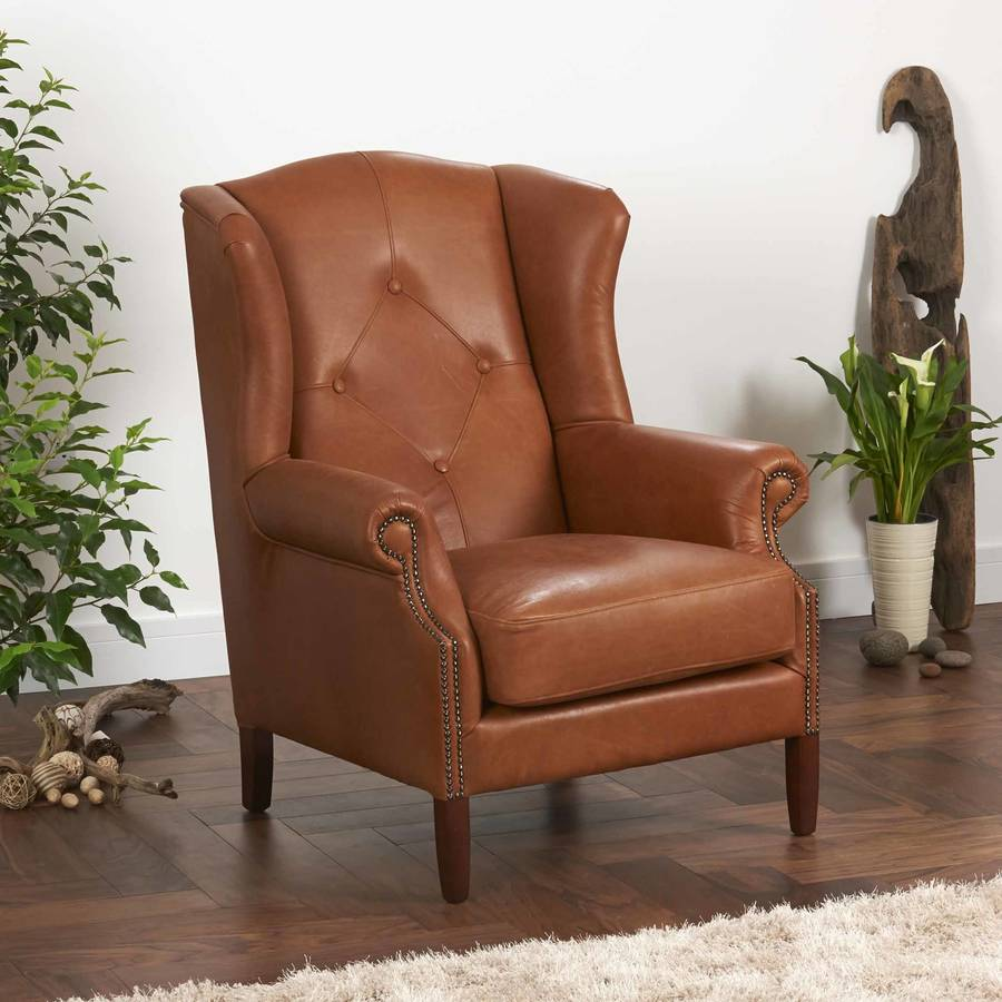 Tan Leather & leather buttoned wing chair leather or tweed by the orchard ...