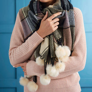 Personalised Pom Pom Trimmed Cashmere Blanket Scarf - for sisters