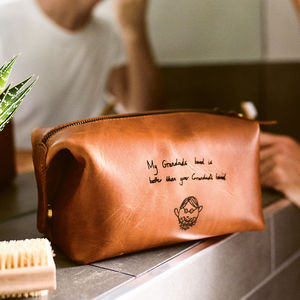Personalised Leather Wash Bag With Child's Masterpiece - gifts for him