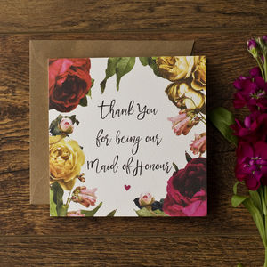 Vintage Floral Maid Of Honour Thank You Card