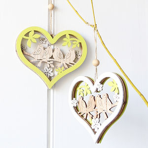Bird Hanging Heart - decorative accessories