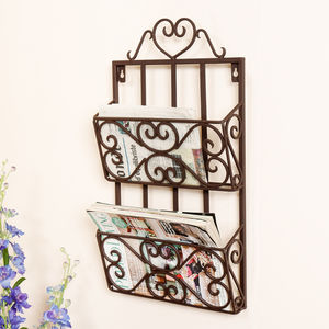 Parisian Romance Wall Mounted Magazine Rack - storage & organisers