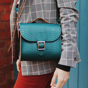 Leather Croc Print Satchel Shoulder Bag