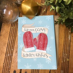 Warm And Cosy Winter Wishes Holiday Card