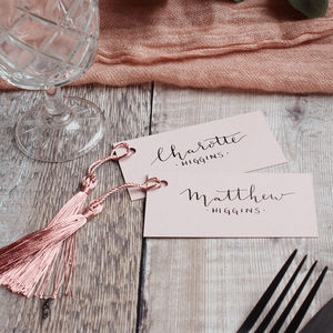 Blush Pink Tassel Calligraphy Placecards