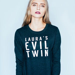 Personalised 'Evil Twin' Halloween Sweatshirt