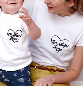 Personalised Heart Mum And Child Matching T Shirt Set - mother & child sets
