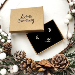 Crescent Moon Ring And Earrings Gift Set