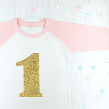 First Birthday Number One Sparkly Girls T Shirt