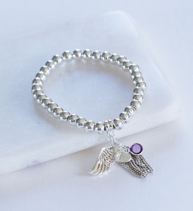 Personalised Angel Wing And Birthstone Ball Bracelet