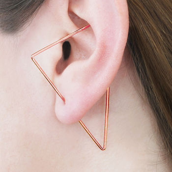 Rose Gold Triangle Elongated Hoop Earrings