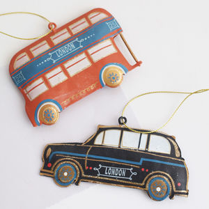 London Taxi Or Bus Tin Decoration - tree decorations