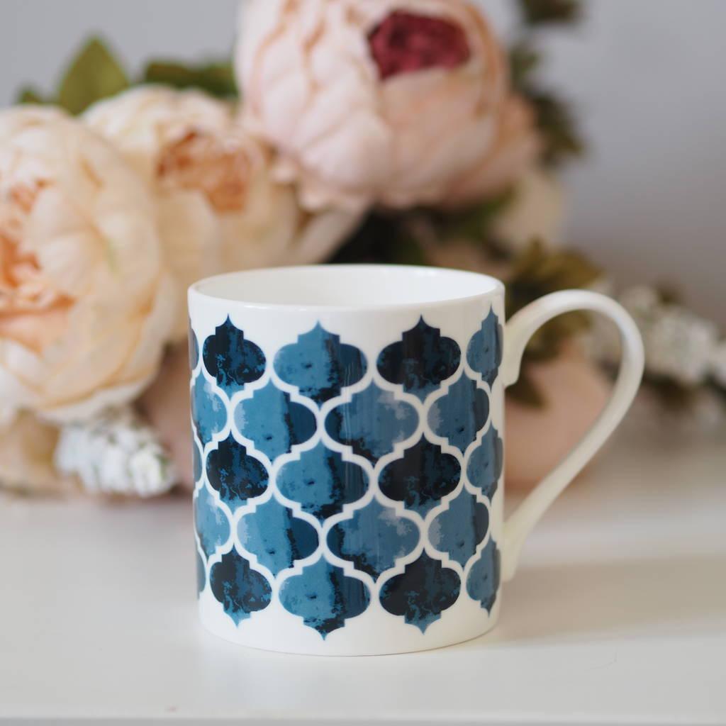 Isabel Bone China Mug, Geometric Blue Pattern