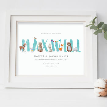 Personalised Baby, Nursery Print | Woodland Animals
