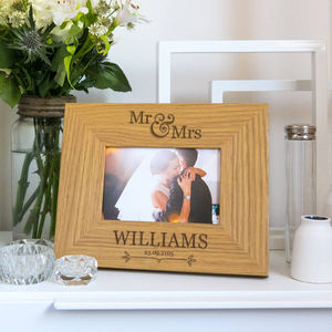 Personalised 'Mr And Mrs' Name And Date Photo Frame - prints & art sale