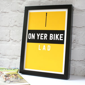 'On Yer Bike' Cycling Jersey Print - gifts for cyclists
