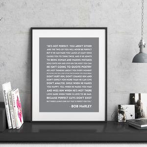 Bob Marley 'He's Not Perfect' Quote Print - typography
