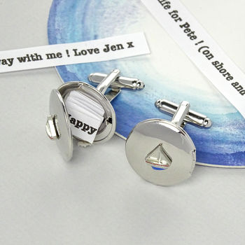 Yacht Personalised Message Cufflinks